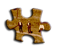Old photo showing two men, image in the shape of a common puzzle piece