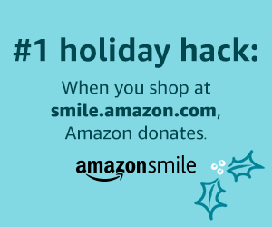 #1 holiday hack: when you shop at smile.amazon.com, Amazon donates. AmazonSmile logo