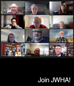 Join JWHA! with photos of a group of people during a video conference